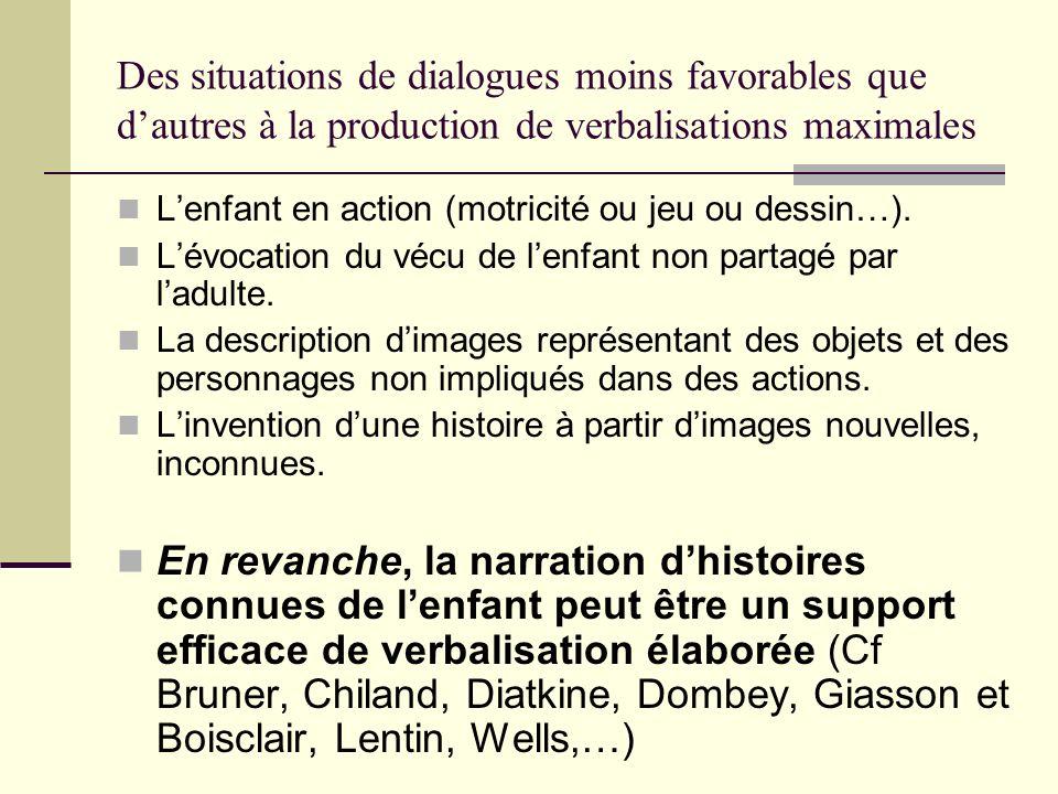 Des situations de dialogues moins favorables que dautres à la production de verbalisations maximales Lenfant en action (motricité ou jeu ou dessin…).