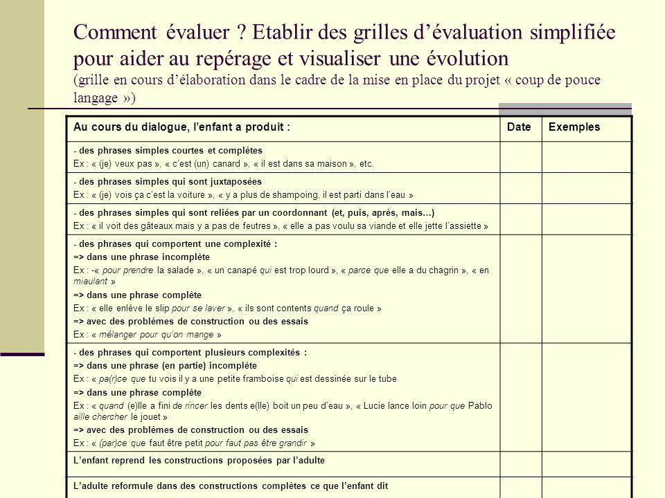 Comment évaluer ? Etablir des grilles dévaluation simplifiée pour aider au repérage et visualiser une évolution (grille en cours délaboration dans le