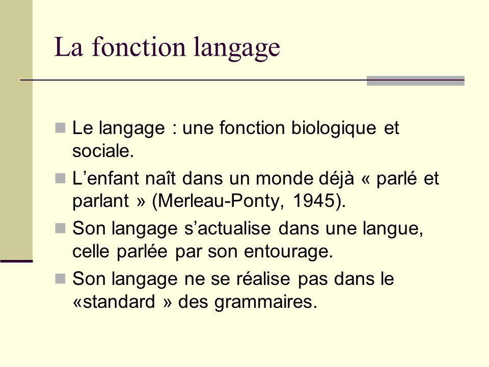 La fonction langage Le langage : une fonction biologique et sociale. Lenfant naît dans un monde déjà « parlé et parlant » (Merleau-Ponty, 1945). Son l