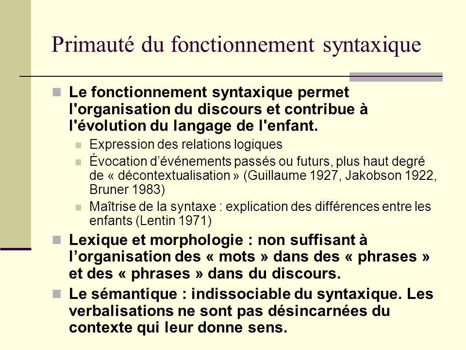 Primauté du fonctionnement syntaxique Le fonctionnement syntaxique permet l'organisation du discours et contribue à l'évolution du langage de l'enfant