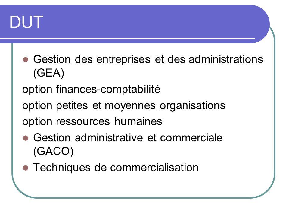DUT Gestion des entreprises et des administrations (GEA) option finances-comptabilité option petites et moyennes organisations option ressources humai