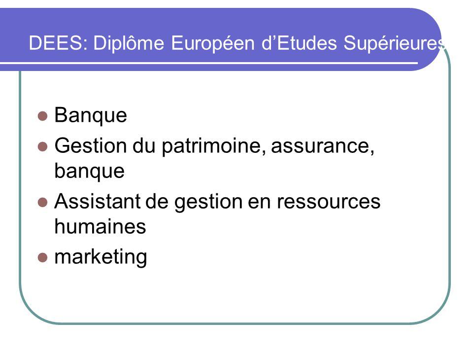 DEES: Diplôme Européen dEtudes Supérieures Banque Gestion du patrimoine, assurance, banque Assistant de gestion en ressources humaines marketing