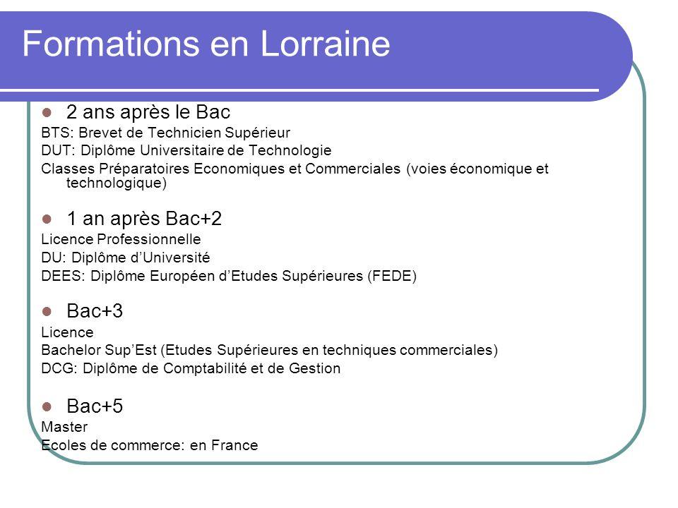 Formations en Lorraine 2 ans après le Bac BTS: Brevet de Technicien Supérieur DUT: Diplôme Universitaire de Technologie Classes Préparatoires Economiq