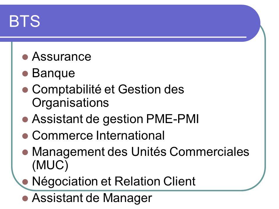 BTS Assurance Banque Comptabilité et Gestion des Organisations Assistant de gestion PME-PMI Commerce International Management des Unités Commerciales