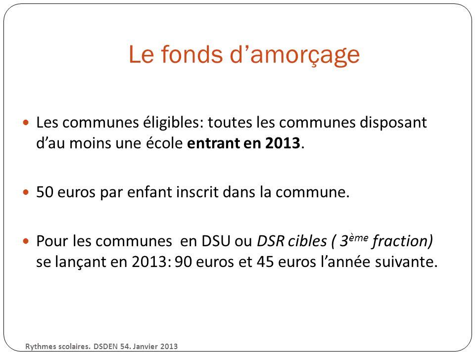 Le fonds damorçage Les communes éligibles: toutes les communes disposant dau moins une école entrant en 2013.