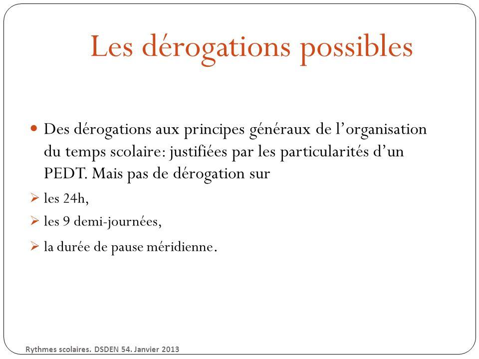 Les dérogations possibles Des dérogations aux principes généraux de lorganisation du temps scolaire: justifiées par les particularités dun PEDT.