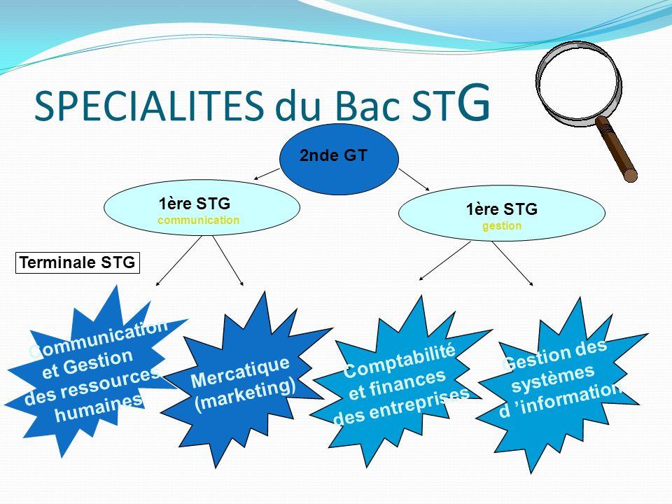 SPECIALITES du Bac ST G Terminale STG 1ère STG gestion 2nde GT Communication et Gestion des ressources humaines Comptabilité et finances des entrepris