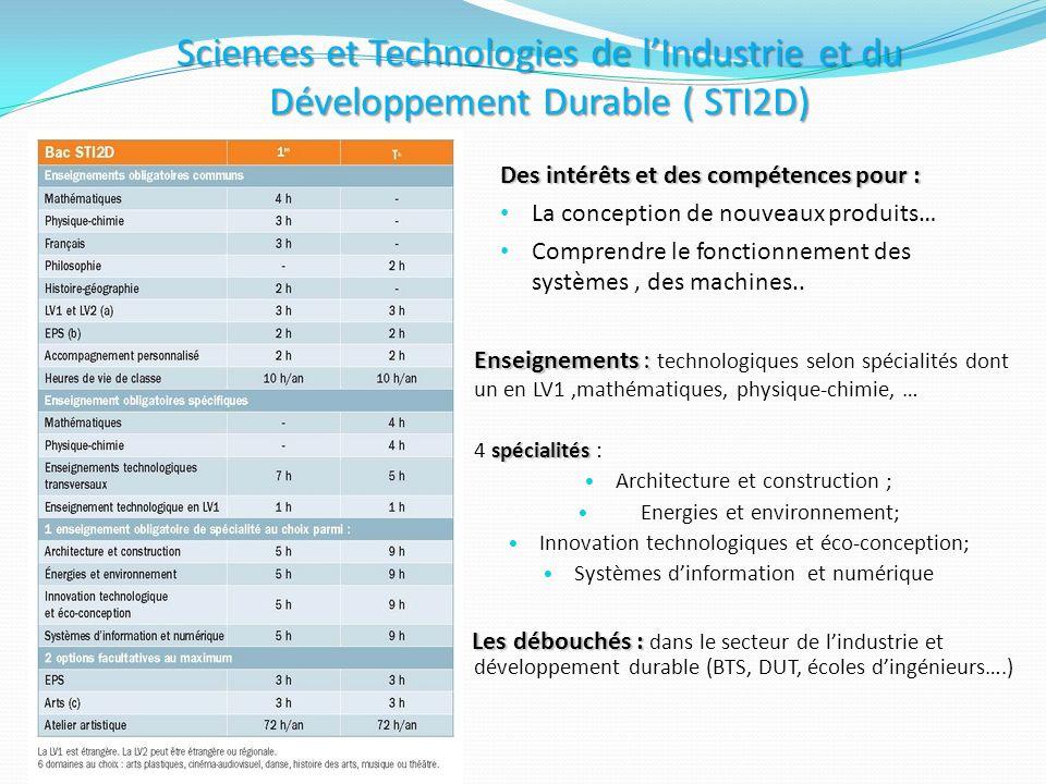 Sciences et Technologies de lIndustrie et du Développement Durable ( STI2D) Des intérêts et des compétences pour : La conception de nouveaux produits…