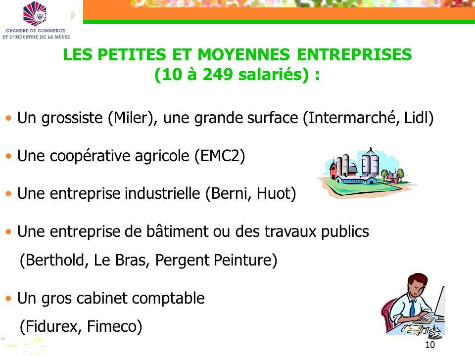10 LES PETITES ET MOYENNES ENTREPRISES (10 à 249 salariés) : Un grossiste (Miler), une grande surface (Intermarché, Lidl) Une coopérative agricole (EM