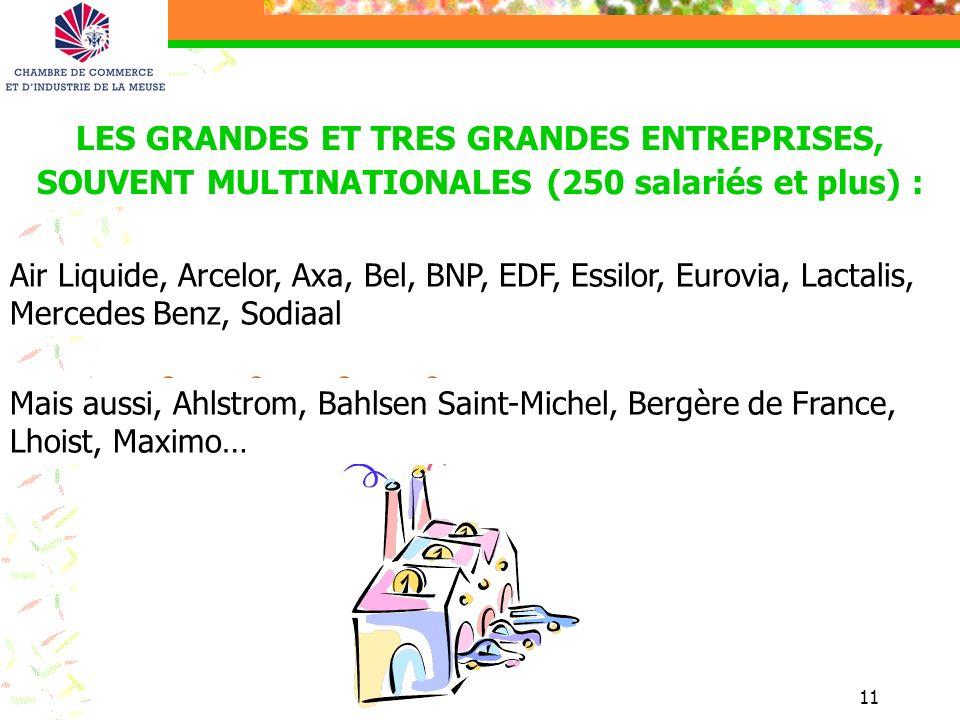 11 LES GRANDES ET TRES GRANDES ENTREPRISES, SOUVENT MULTINATIONALES (250 salariés et plus) : Mais aussi, Ahlstrom, Bahlsen Saint-Michel, Bergère de Fr