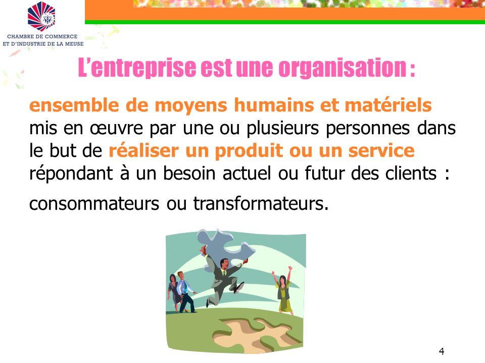 4 Lentreprise est une organisation : ensemble de moyens humains et matériels mis en œuvre par une ou plusieurs personnes dans le but de réaliser un pr