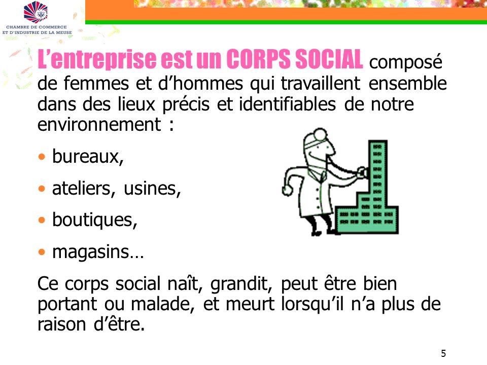 5 Lentreprise est un CORPS SOCIAL composé de femmes et dhommes qui travaillent ensemble dans des lieux précis et identifiables de notre environnement
