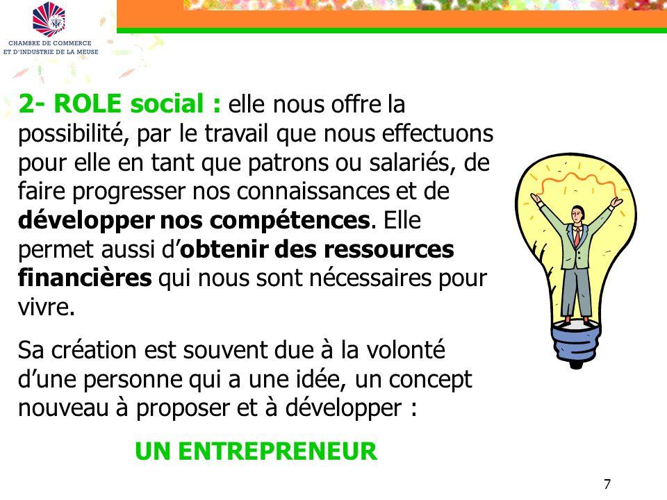 7 2- ROLE social : elle nous offre la possibilité, par le travail que nous effectuons pour elle en tant que patrons ou salariés, de faire progresser n