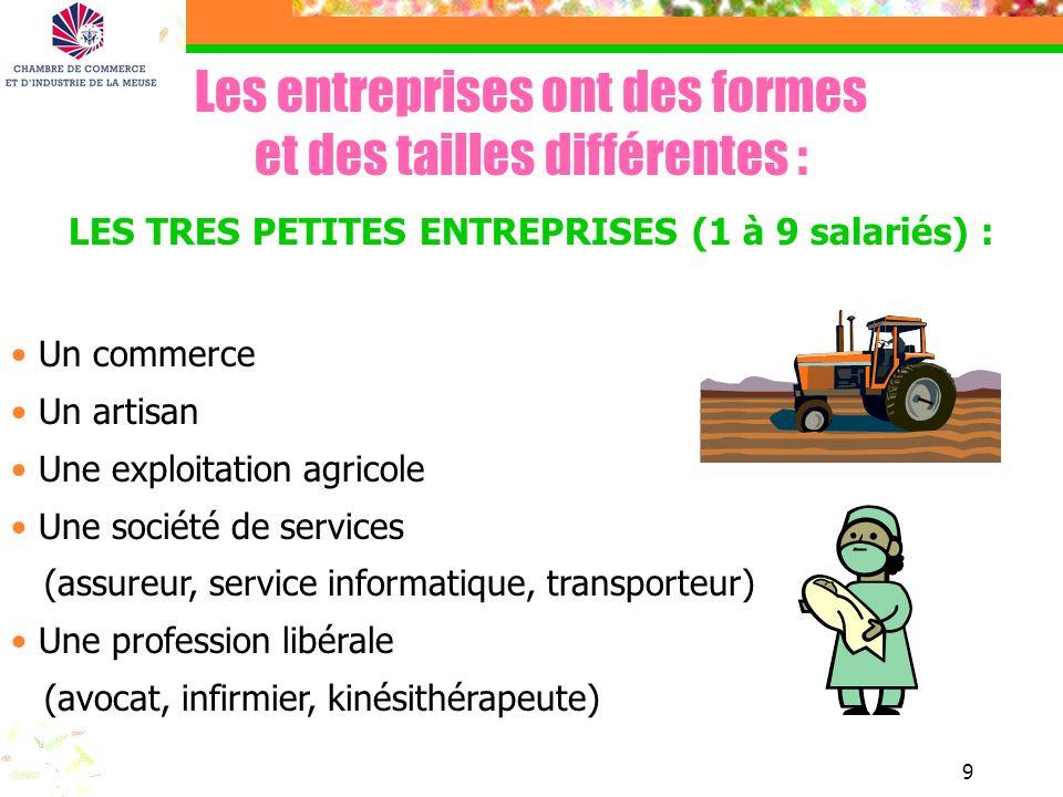 9 Les entreprises ont des formes et des tailles différentes : LES TRES PETITES ENTREPRISES (1 à 9 salariés) : Un commerce Un artisan Une exploitation