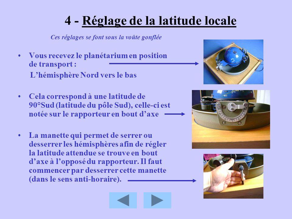 4 - Réglage de la latitude locale Vous recevez le planétarium en position de transport : Lhémisphère Nord vers le bas Cela correspond à une latitude d