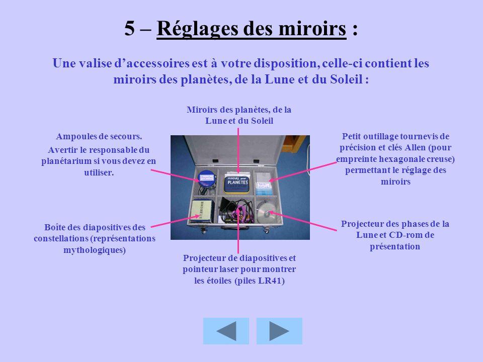 5 – Réglages des miroirs : Ampoules de secours. Avertir le responsable du planétarium si vous devez en utiliser. Une valise daccessoires est à votre d