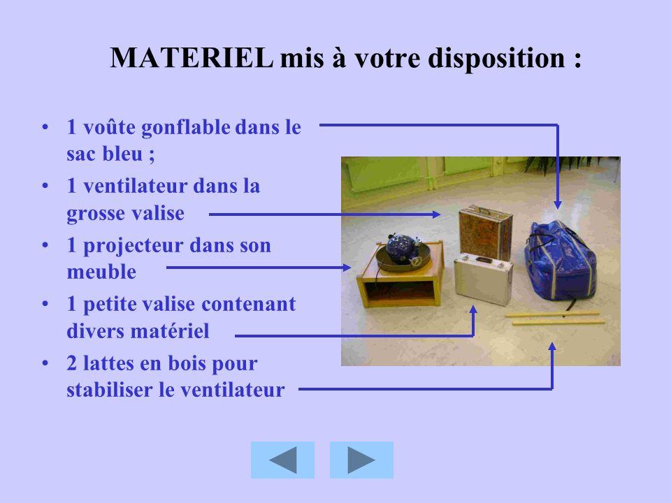 MATERIEL mis à votre disposition : 1 voûte gonflable dans le sac bleu ; 1 ventilateur dans la grosse valise 1 projecteur dans son meuble 1 petite vali