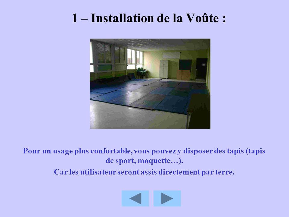 1 – Installation de la Voûte : Pour un usage plus confortable, vous pouvez y disposer des tapis (tapis de sport, moquette…). Car les utilisateur seron