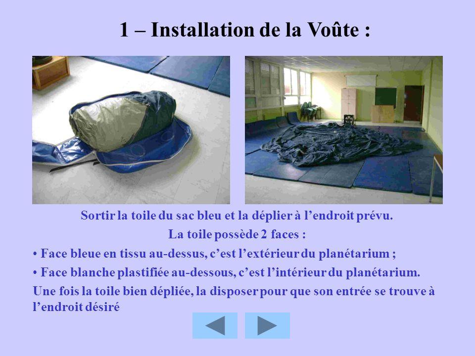 1 – Installation de la Voûte : Sortir la toile du sac bleu et la déplier à lendroit prévu. La toile possède 2 faces : Face bleue en tissu au-dessus, c