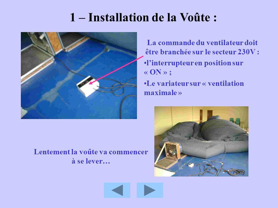 1 – Installation de la Voûte : La commande du ventilateur doit être branchée sur le secteur 230V : linterrupteur en position sur « ON » ; Le variateur