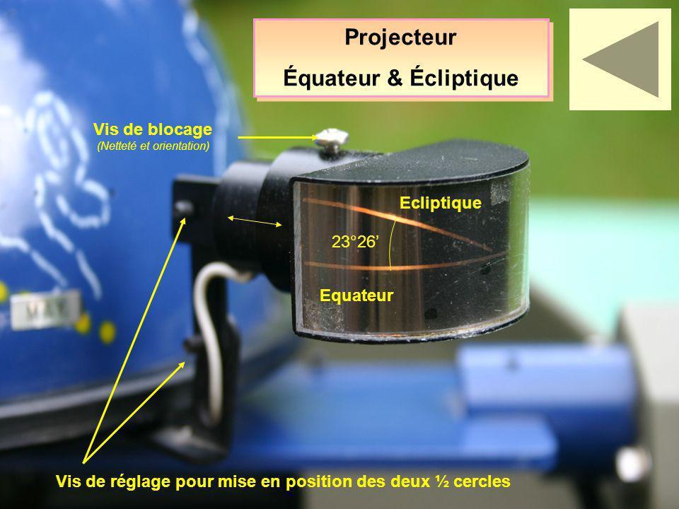 Projecteur Équateur & Écliptique Projecteur Équateur & Écliptique Equateur Ecliptique 23°26 Vis de blocage (Netteté et orientation) Vis de réglage pou