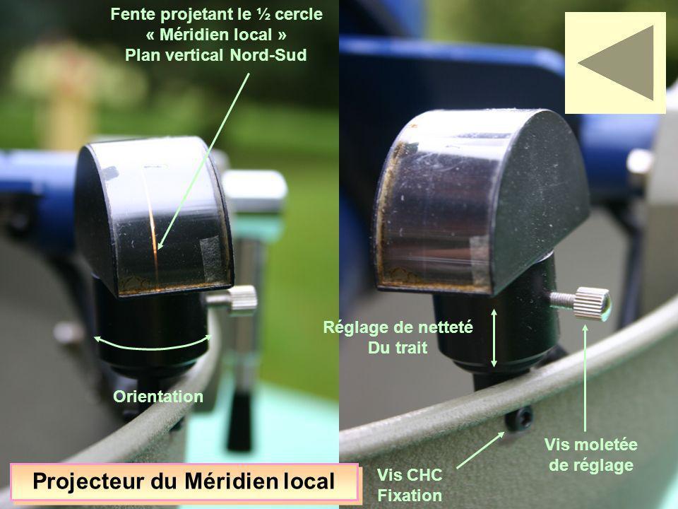 Fente projetant le ½ cercle « Méridien local » Plan vertical Nord-Sud Réglage de netteté Du trait Vis moletée de réglage Vis CHC Fixation Orientation