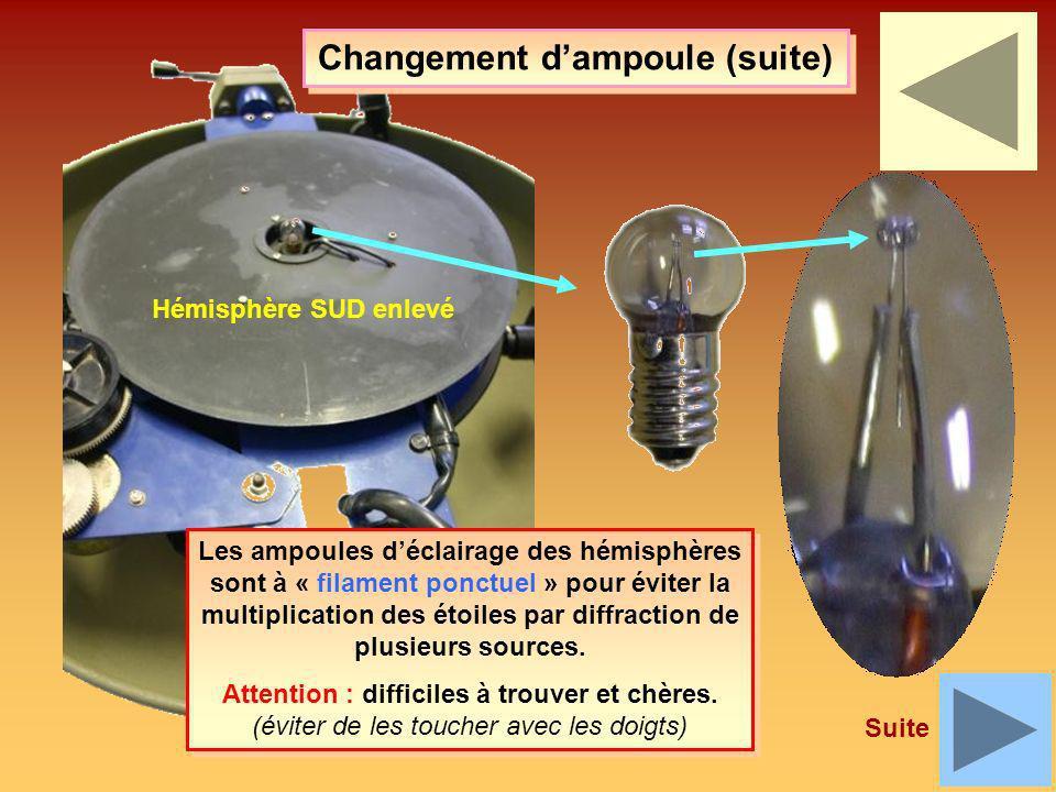 Les ampoules déclairage des hémisphères sont à « filament ponctuel » pour éviter la multiplication des étoiles par diffraction de plusieurs sources. A