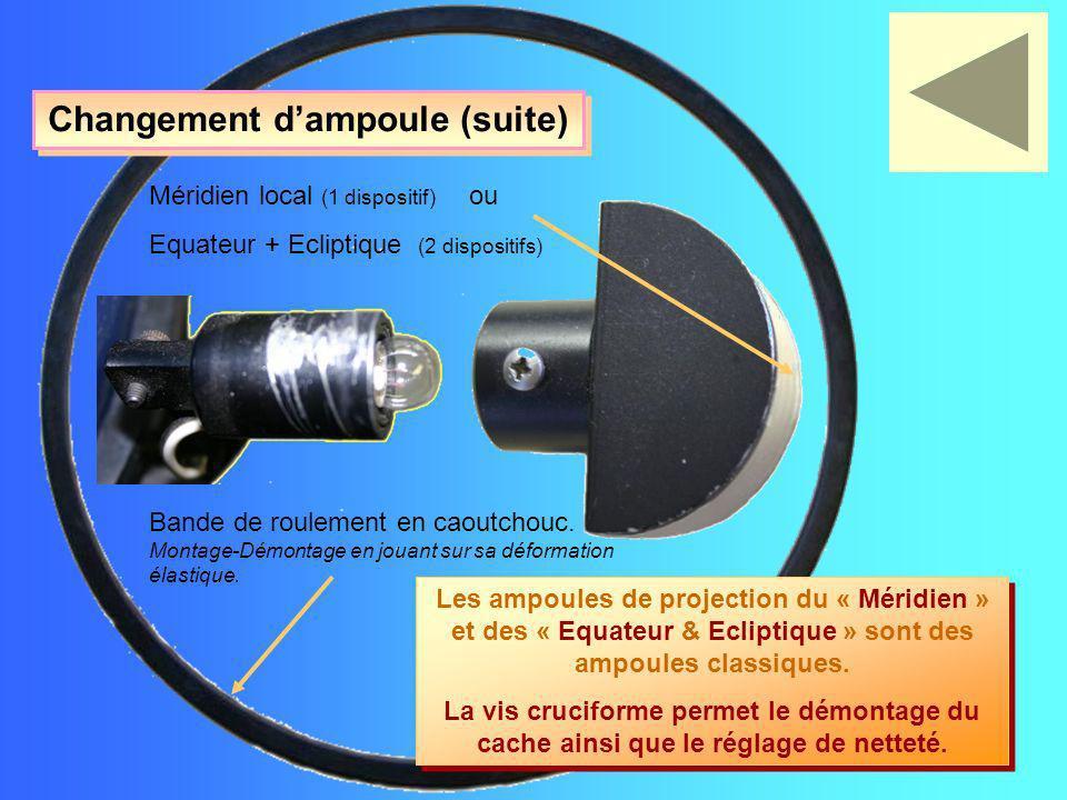 Les ampoules de projection du « Méridien » et des « Equateur & Ecliptique » sont des ampoules classiques. La vis cruciforme permet le démontage du cac