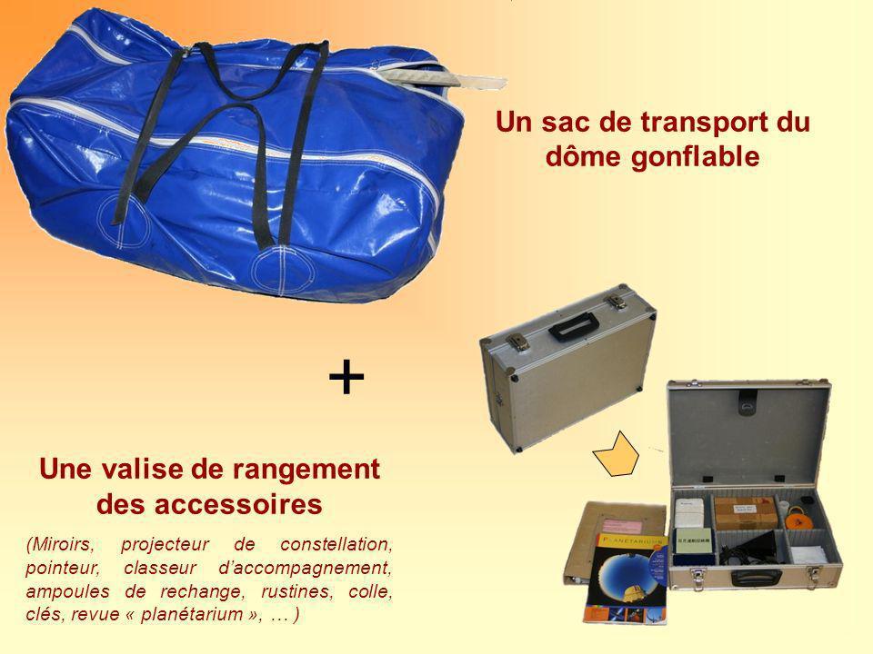 Un sac de transport du dôme gonflable + Une valise de rangement des accessoires (Miroirs, projecteur de constellation, pointeur, classeur daccompagnem