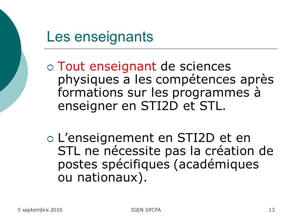 Les enseignants Tout enseignant de sciences physiques a les compétences après formations sur les programmes à enseigner en STI2D et STL.