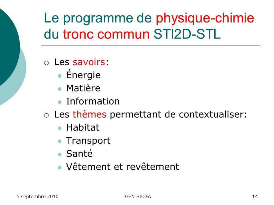 Le programme de physique-chimie du tronc commun STI2D-STL Les savoirs: Énergie Matière Information Les thèmes permettant de contextualiser: Habitat Transport Santé Vêtement et revêtement 5 septembre 2010IGEN SPCFA14