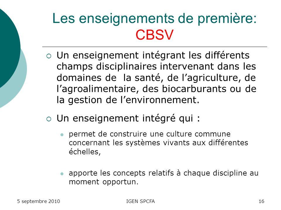 Les enseignements de première: CBSV Un enseignement intégrant les différents champs disciplinaires intervenant dans les domaines de la santé, de lagriculture, de lagroalimentaire, des biocarburants ou de la gestion de lenvironnement.