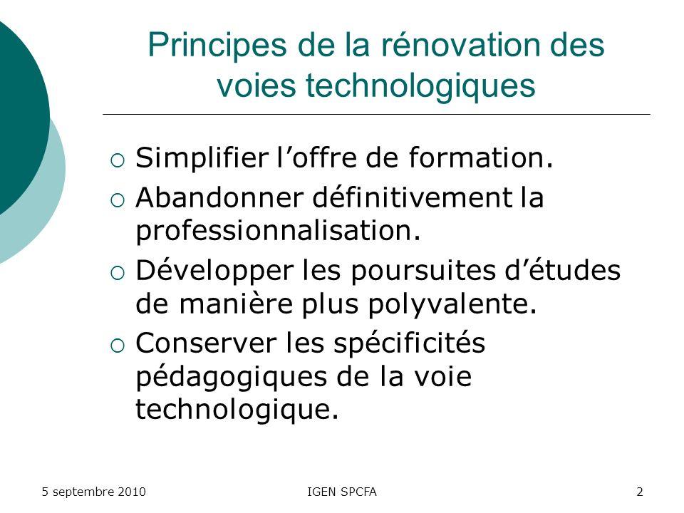 Principes de la rénovation des voies technologiques Simplifier loffre de formation.