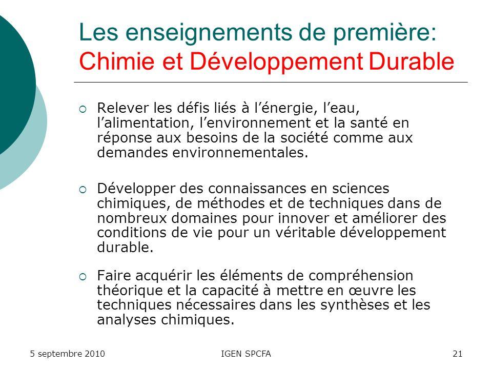 Les enseignements de première: Chimie et Développement Durable Relever les défis liés à lénergie, leau, lalimentation, lenvironnement et la santé en réponse aux besoins de la société comme aux demandes environnementales.