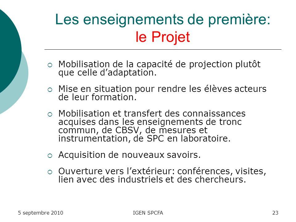 Les enseignements de première: le Projet Mobilisation de la capacité de projection plutôt que celle dadaptation.