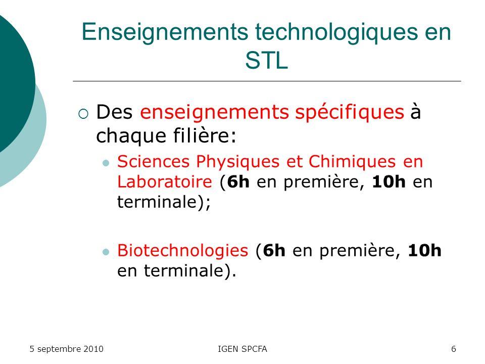 Enseignements technologiques en STL Des enseignements spécifiques à chaque filière: Sciences Physiques et Chimiques en Laboratoire (6h en première, 10h en terminale); Biotechnologies (6h en première, 10h en terminale).