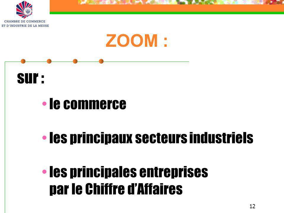 12 ZOOM : le commerce les principaux secteurs industriels les principales entreprises par le Chiffre dAffaires sur :