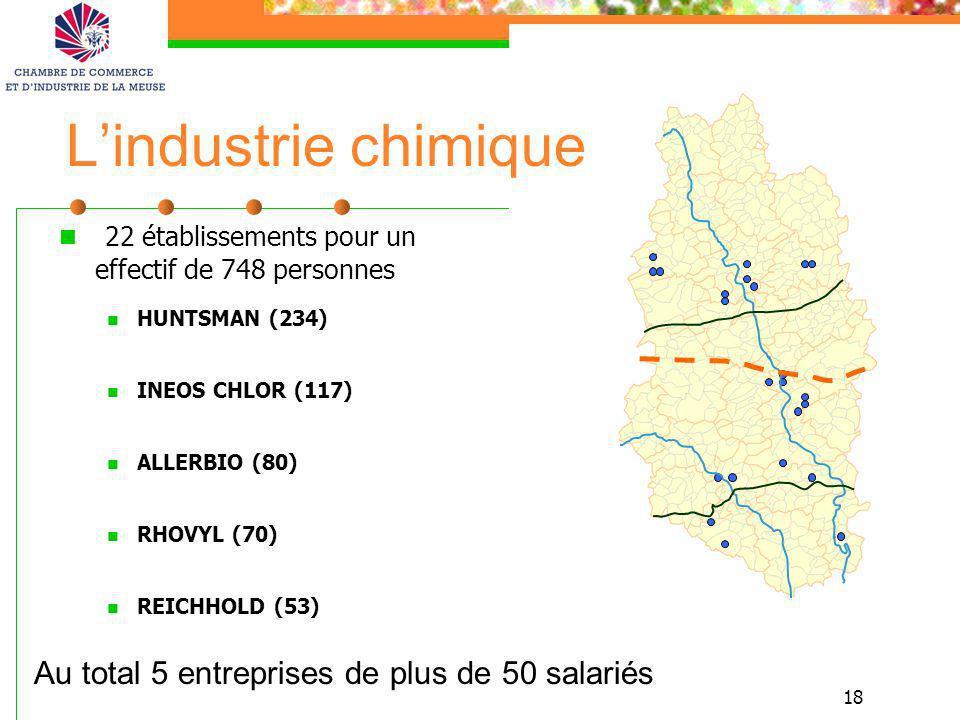 18 Lindustrie chimique 22 établissements pour un effectif de 748 personnes HUNTSMAN (234) INEOS CHLOR (117) ALLERBIO (80) RHOVYL (70) REICHHOLD (53) A