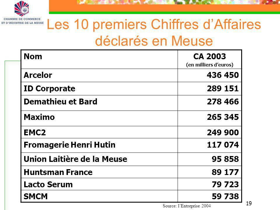 19 Les 10 premiers Chiffres dAffaires déclarés en Meuse NomCA 2003 (en milliers deuros) Arcelor436 450 ID Corporate289 151 Demathieu et Bard278 466 Ma