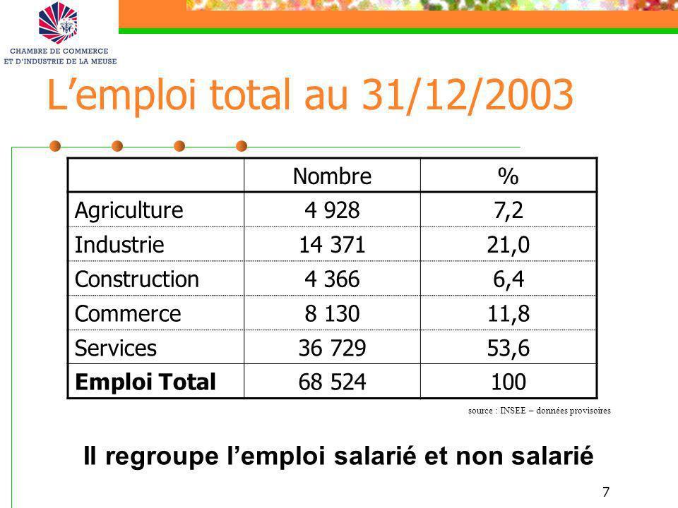 7 Lemploi total au 31/12/2003 Nombre% Agriculture4 9287,2 Industrie14 37121,0 Construction4 3666,4 Commerce8 13011,8 Services36 72953,6 Emploi Total68