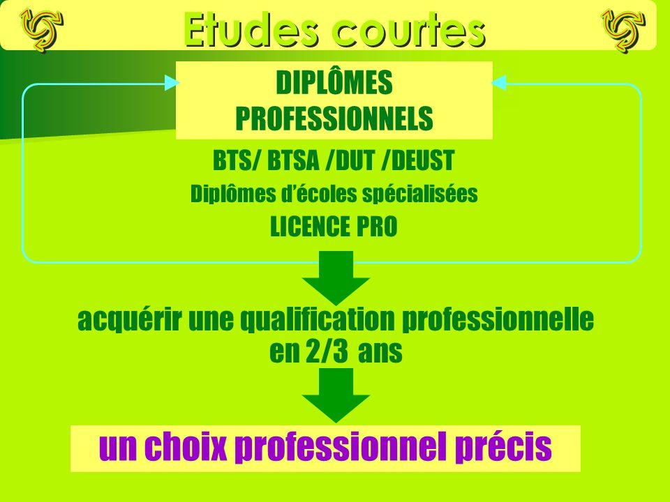 acquérir une qualification professionnelle en 2/3 ans BTS/ BTSA /DUT /DEUST Diplômes décoles spécialisées LICENCE PRO DIPLÔMES PROFESSIONNELS un choix professionnel précis