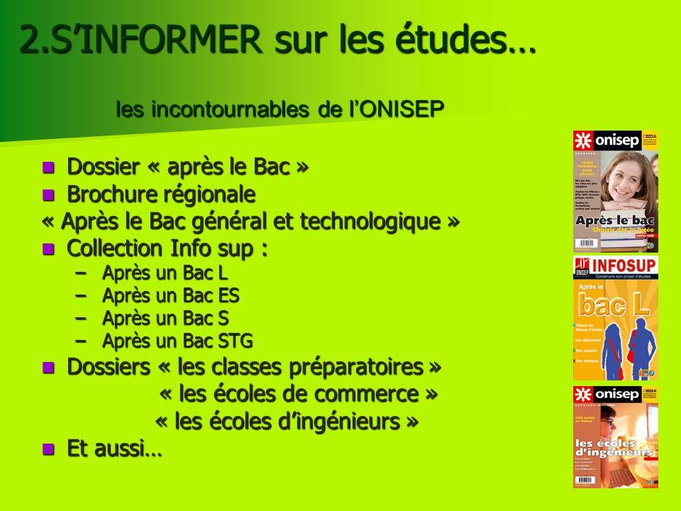2.SINFORMER sur les études… Dossier « après le Bac » Dossier « après le Bac » Brochure régionale Brochure régionale « Après le Bac général et technolo