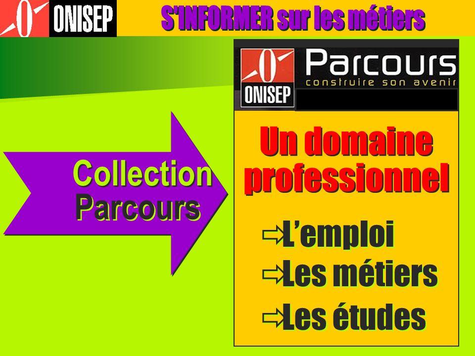 Collection Un domaine professionnel Un domaine professionnel Parcours Lemploi Les métiers Les études Lemploi Les métiers Les études