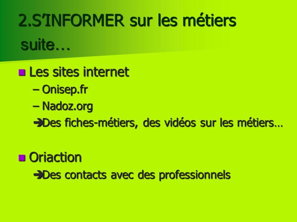 Les sites internet Les sites internet –Onisep.fr –Nadoz.org Des fiches-métiers, des vidéos sur les métiers… Des fiches-métiers, des vidéos sur les mét