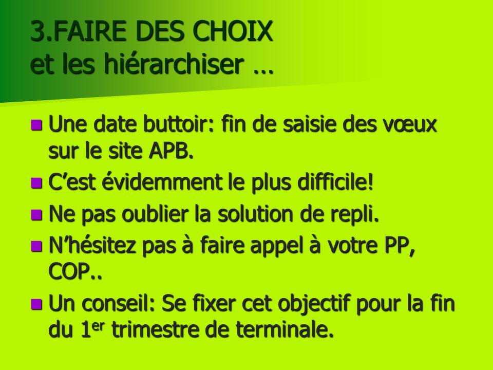 3.FAIRE DES CHOIX et les hiérarchiser … Une date buttoir: fin de saisie des vœux sur le site APB. Une date buttoir: fin de saisie des vœux sur le site