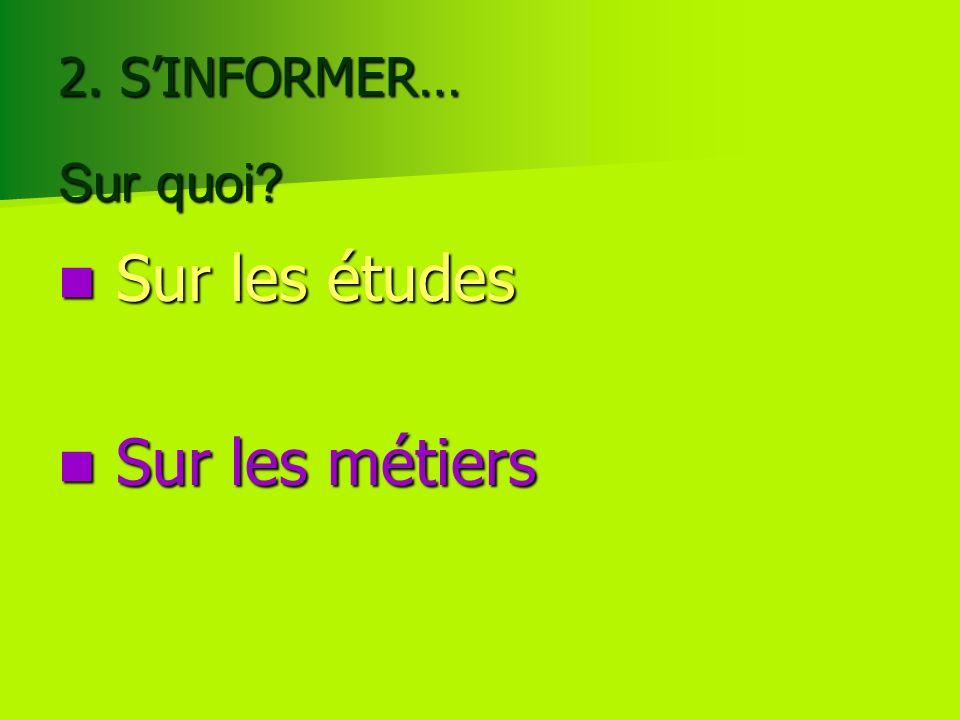 2. SINFORMER… Sur les études Sur les études Sur les métiers Sur les métiers Sur quoi?