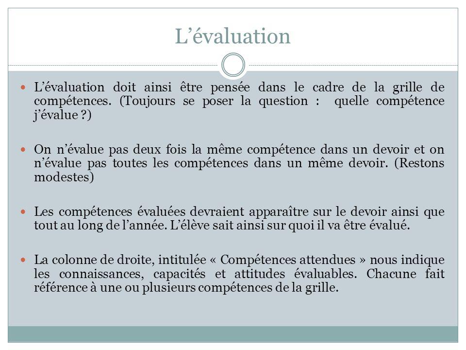 Lévaluation Lévaluation doit ainsi être pensée dans le cadre de la grille de compétences. (Toujours se poser la question : quelle compétence jévalue ?