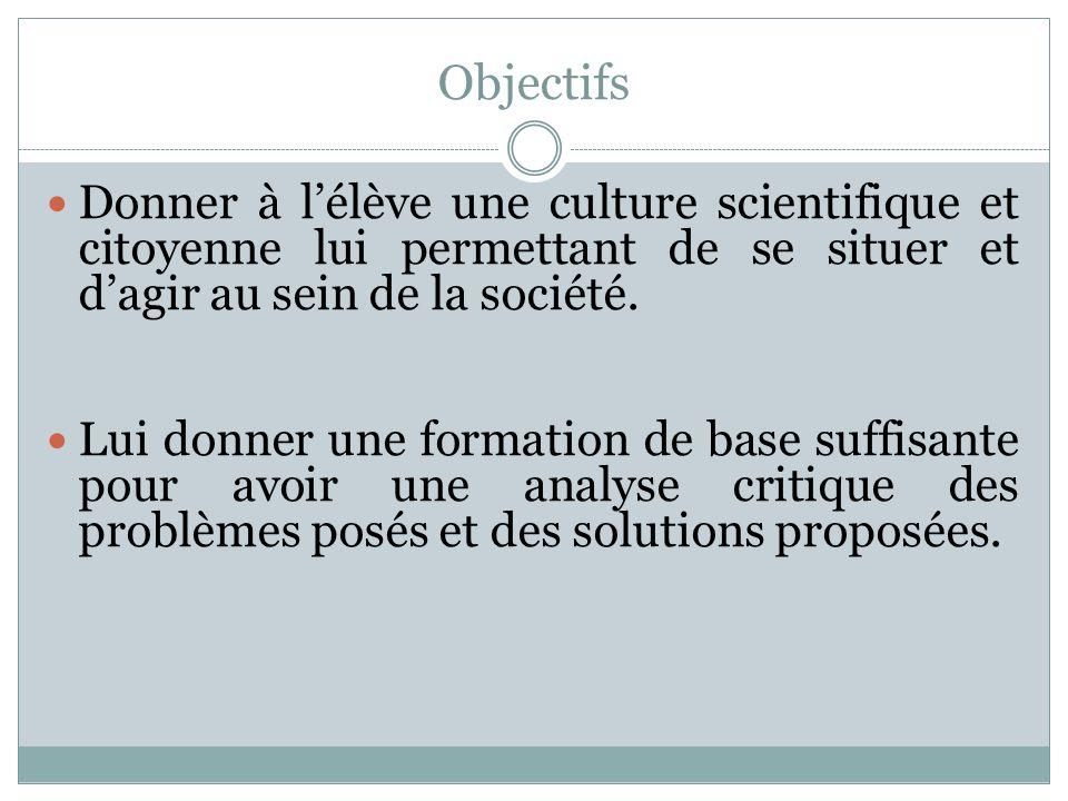 Objectifs Donner à lélève une culture scientifique et citoyenne lui permettant de se situer et dagir au sein de la société. Lui donner une formation d