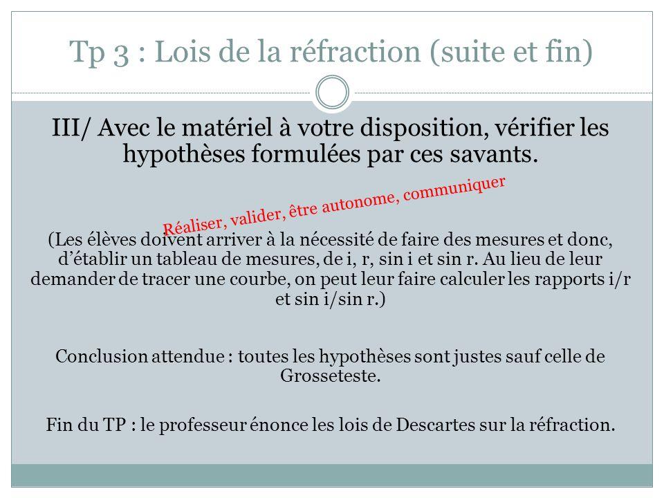 Tp 3 : Lois de la réfraction (suite et fin) III/ Avec le matériel à votre disposition, vérifier les hypothèses formulées par ces savants. (Les élèves