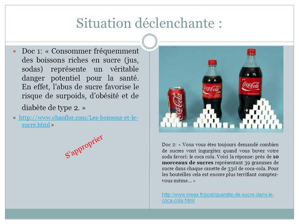 Situation déclenchante : Doc 1: « Consommer fréquemment des boissons riches en sucre (jus, sodas) représente un véritable danger potentiel pour la san